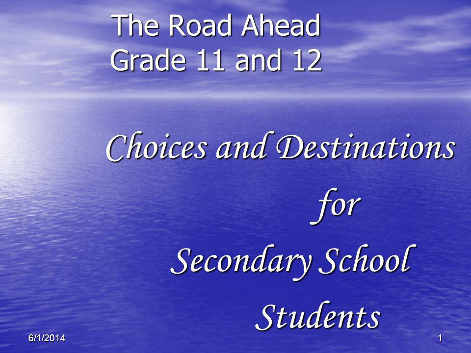 16/1/2014 The Road Ahead Grade 11 and 12 Choices and Destinations Choices and Destinationsfor Secondary School Students Students