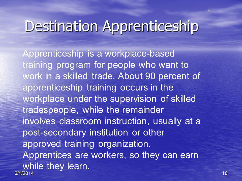 6/1/201410 Destination Apprenticeship Apprenticeship is a workplace-based training program for people who want to work in a skilled trade. About 90 pe