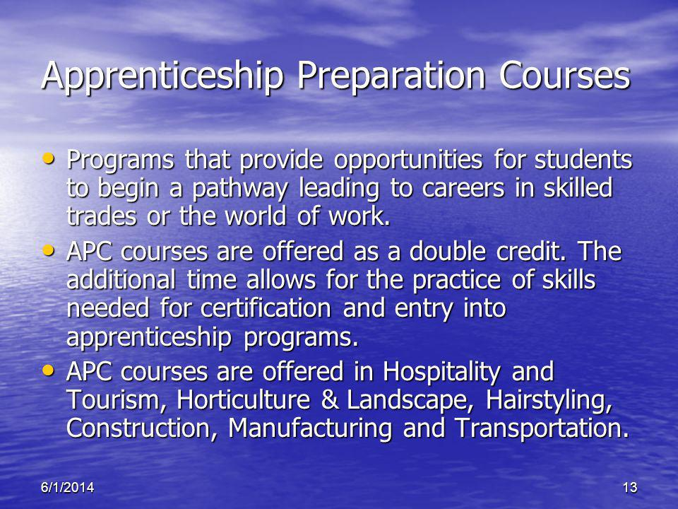 6/1/201413 Apprenticeship Preparation Courses Programs that provide opportunities for students to begin a pathway leading to careers in skilled trades