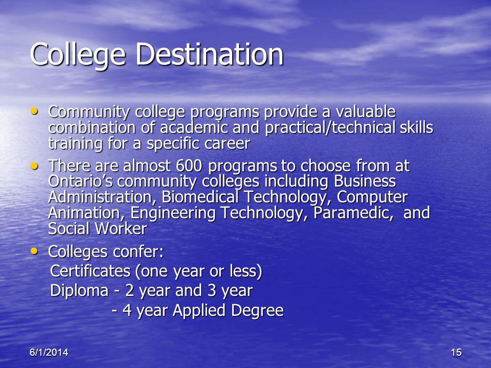 6/1/201415 College Destination Community college programs provide a valuable combination of academic and practical/technical skills training for a spe