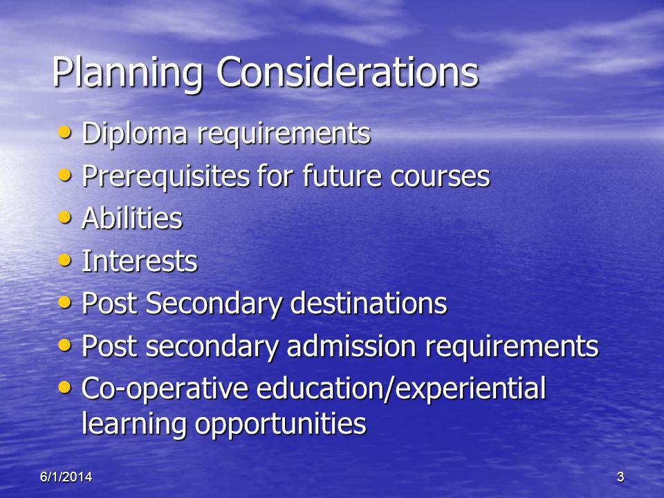 6/1/20143 Planning Considerations Diploma requirements Diploma requirements Prerequisites for future courses Prerequisites for future courses Abilitie