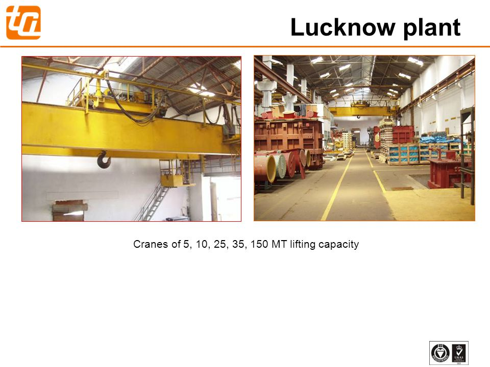 16 Cranes of 5, 10, 25, 35, 150 MT lifting capacity Lucknow plant