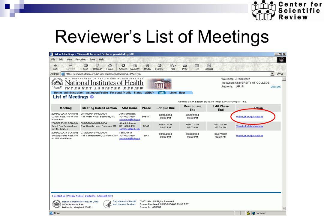 Reviewers List of Meetings