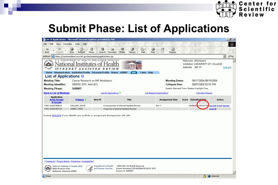 Submit Phase: List of Applications