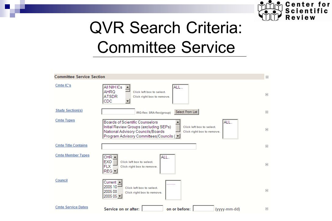 QVR Search Criteria: Committee Service