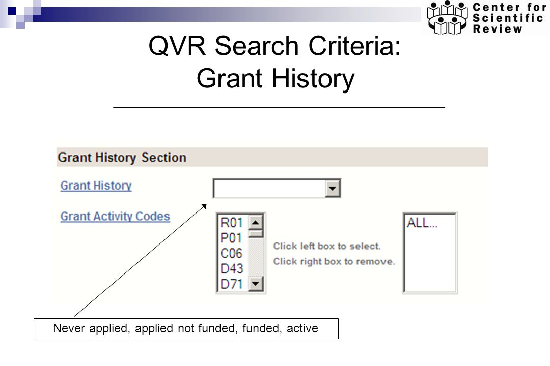 QVR Search Criteria: Grant History Never applied, applied not funded, funded, active