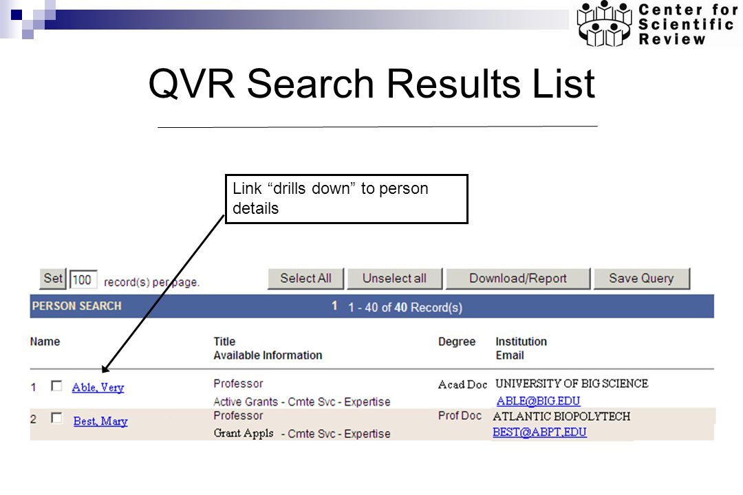 QVR Search Results List Link drills down to person details