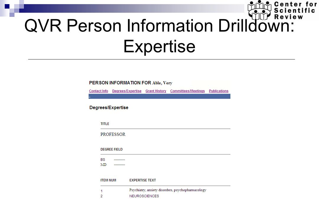 QVR Person Information Drilldown: Expertise