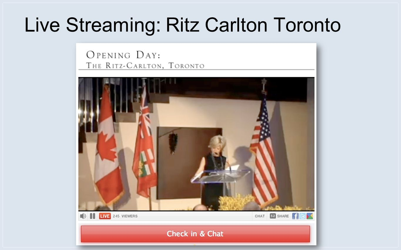 Live Streaming: Ritz Carlton Toronto