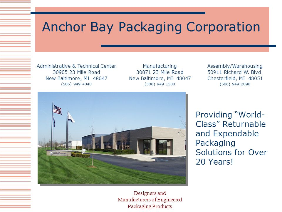 Designers and Manufacturers of Engineered Packaging Products Anchor Bay Packaging Corporation Providing World- Class Returnable and Expendable Packaging Solutions for Over 20 Years.
