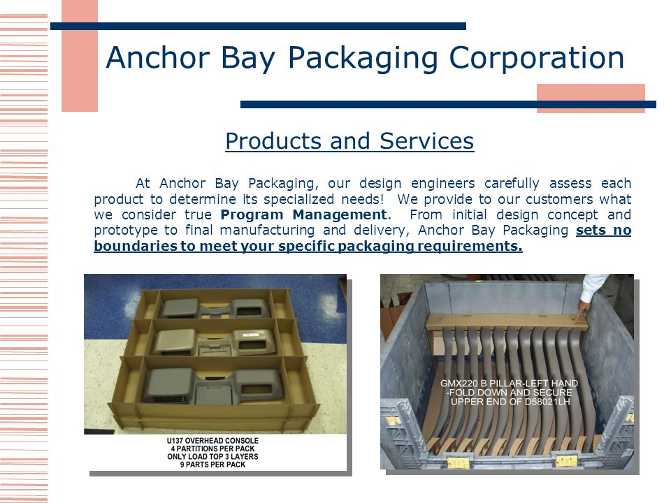 Anchor Bay Packaging Corporation Products and Services At Anchor Bay Packaging, our design engineers carefully assess each product to determine its specialized needs.