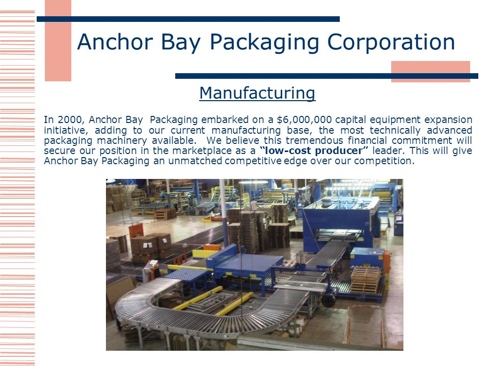 Anchor Bay Packaging Corporation Manufacturing In 2000, Anchor Bay Packaging embarked on a $6,000,000 capital equipment expansion initiative, adding to our current manufacturing base, the most technically advanced packaging machinery available.