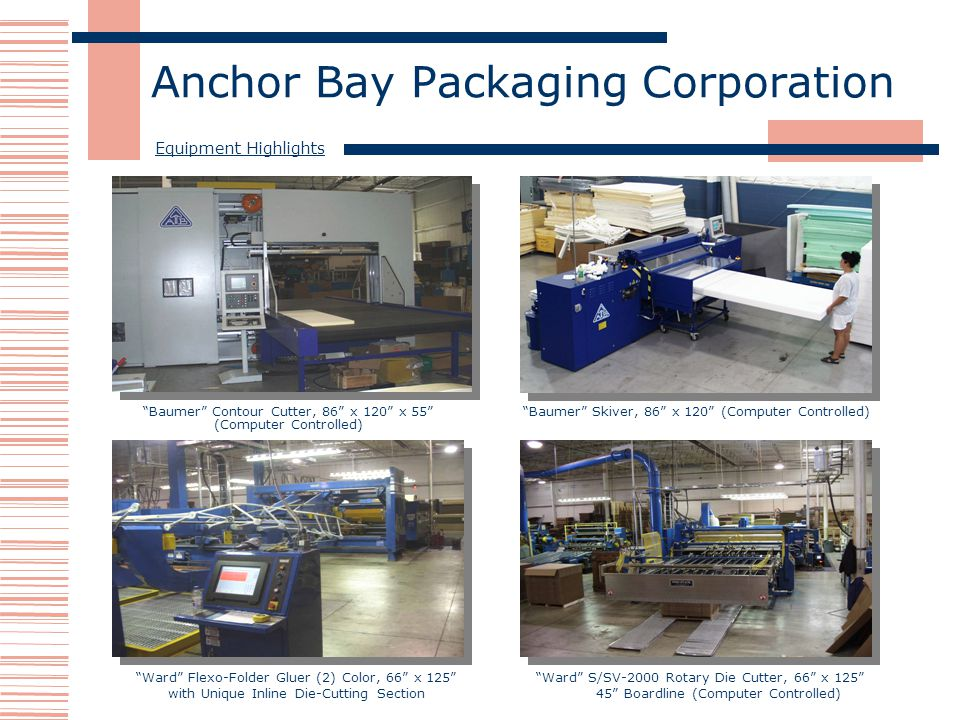 Anchor Bay Packaging Corporation Ward S/SV-2000 Rotary Die Cutter, 66 x 125 45 Boardline (Computer Controlled) Baumer Contour Cutter, 86 x 120 x 55 (Computer Controlled) Baumer Skiver, 86 x 120 (Computer Controlled) Ward Flexo-Folder Gluer (2) Color, 66 x 125 with Unique Inline Die-Cutting Section Equipment Highlights