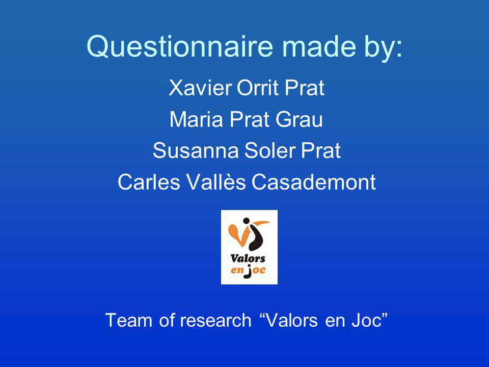 Questionnaire made by: Xavier Orrit Prat Maria Prat Grau Susanna Soler Prat Carles Vallès Casademont Team of research Valors en Joc