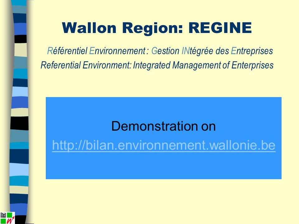 Demonstration on http://bilan.environnement.wallonie.be Wallon Region: REGINE Référentiel Environnement : Gestion INtégrée des Entreprises Referential