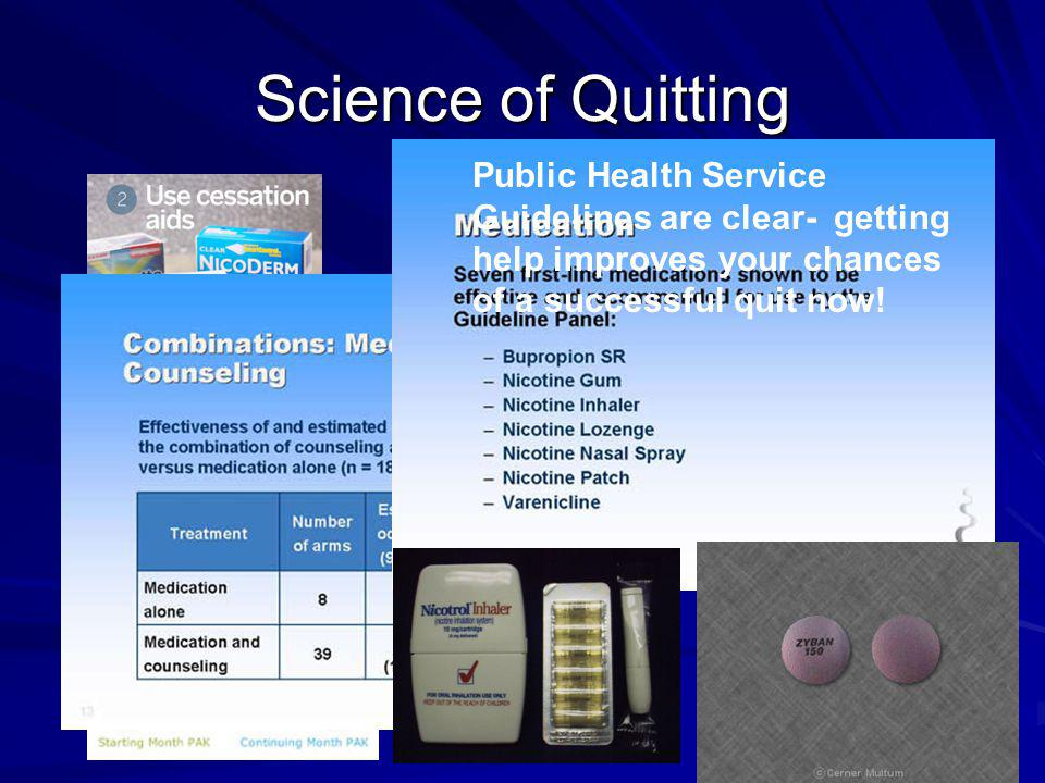Science of Quitting Public Health Service Guidelines are clear- getting help improves your chances of a successful quit now!