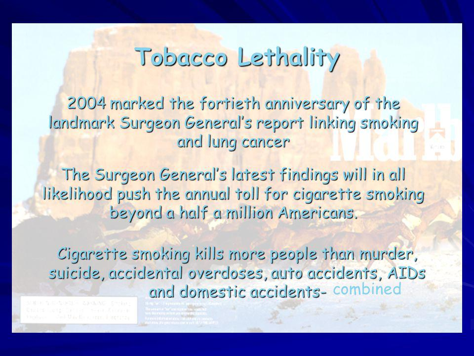 Tobacco Lethality 2004 marked the fortieth anniversary of the landmark Surgeon Generals report linking smoking and lung cancer The Surgeon Generals la