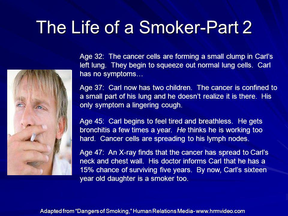 The Life of a Smoker-Part 2 Age 32: The cancer cells are forming a small clump in Carls left lung. They begin to squeeze out normal lung cells. Carl h