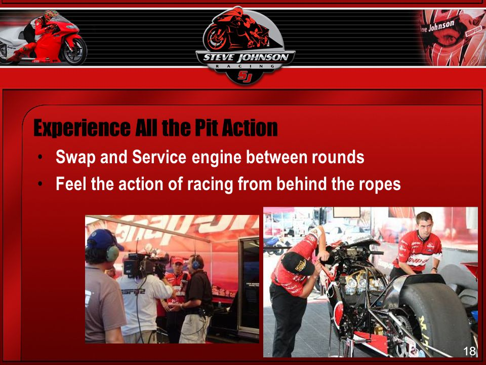 18 Experience All the Pit Action Swap and Service engine between rounds Feel the action of racing from behind the ropes 18
