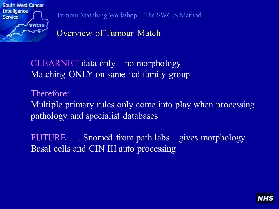 Tumour Matching Workshop – The SWCIS Method FUTURE …. Snomed from path labs – gives morphology Basal cells and CIN III auto processing Overview of Tum