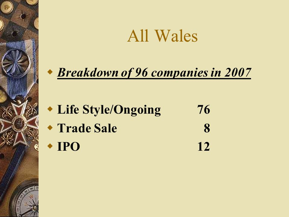 All Wales Breakdown of 96 companies in 2007 Life Style/Ongoing 76 Trade Sale 8 IPO 12