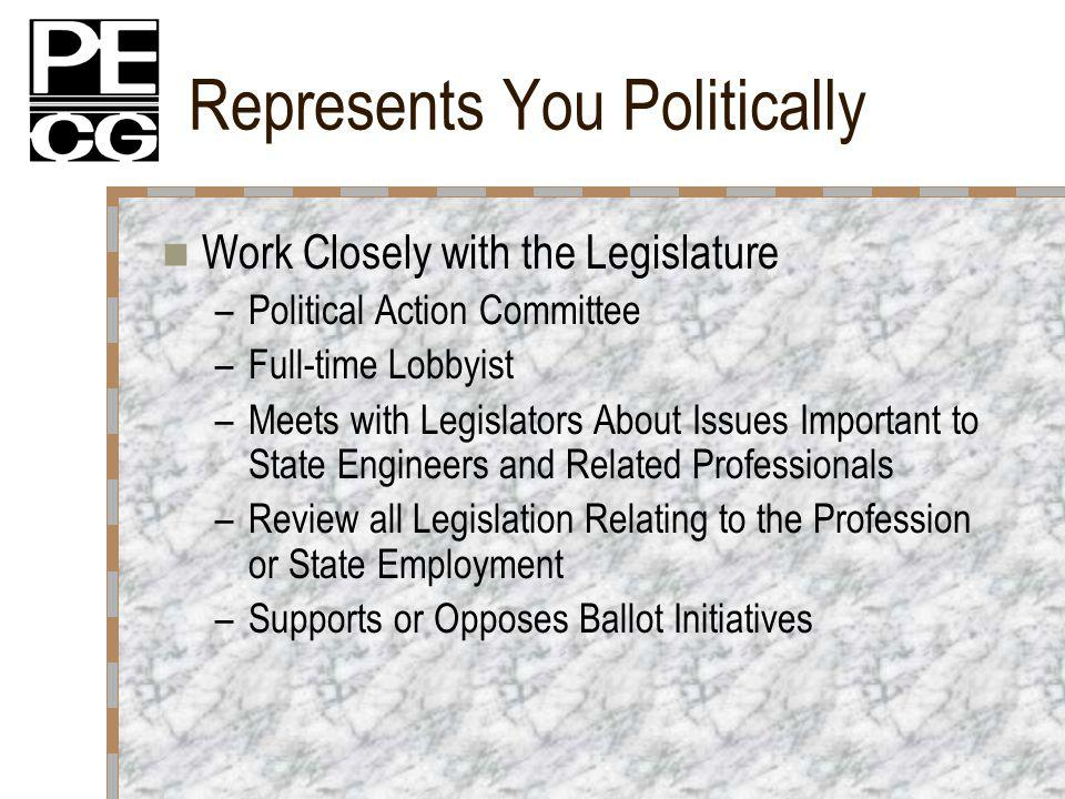 Represents You Politically Work Closely with the Legislature –Political Action Committee –Full-time Lobbyist –Meets with Legislators About Issues Important to State Engineers and Related Professionals –Review all Legislation Relating to the Profession or State Employment –Supports or Opposes Ballot Initiatives