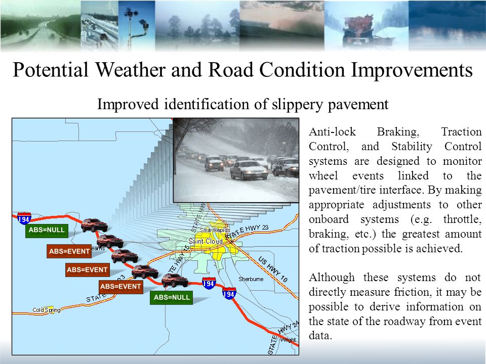Potential Weather and Road Condition Improvements Improved identification of slippery pavement Anti-lock Braking, Traction Control, and Stability Control systems are designed to monitor wheel events linked to the pavement/tire interface.