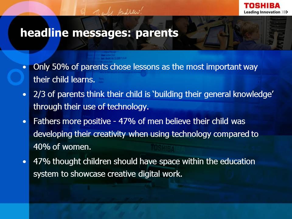 headline messages: parents Only 50% of parents chose lessons as the most important way their child learns. 2/3 of parents think their child is buildin