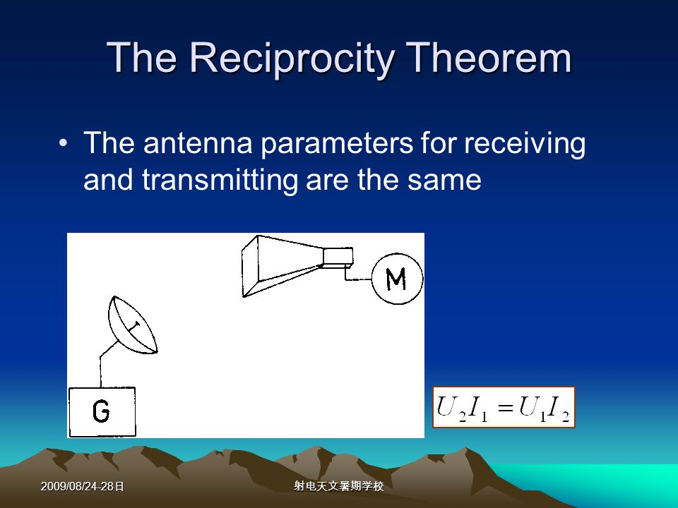 2009/08/24-28 The Reciprocity Theorem The antenna parameters for receiving and transmitting are the same