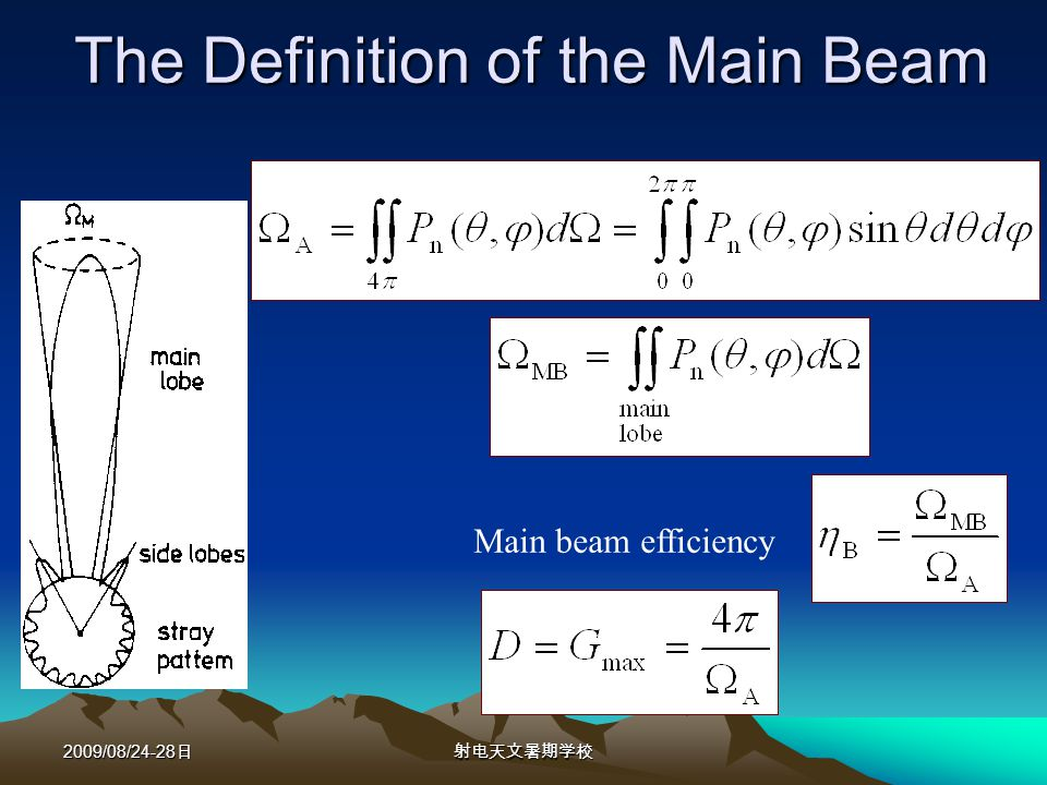 2009/08/24-28 The Definition of the Main Beam Main beam efficiency