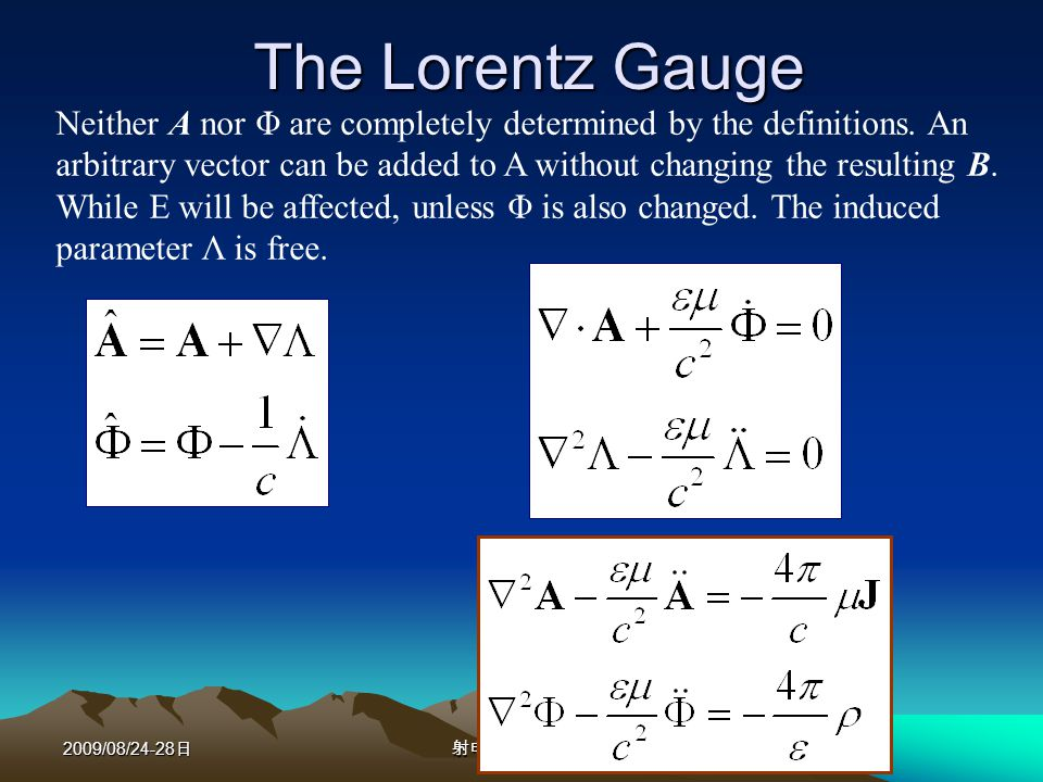 2009/08/24-28 Greens Function for the Wave Equation The form of wave equation Helmholtz wave equation Greens function