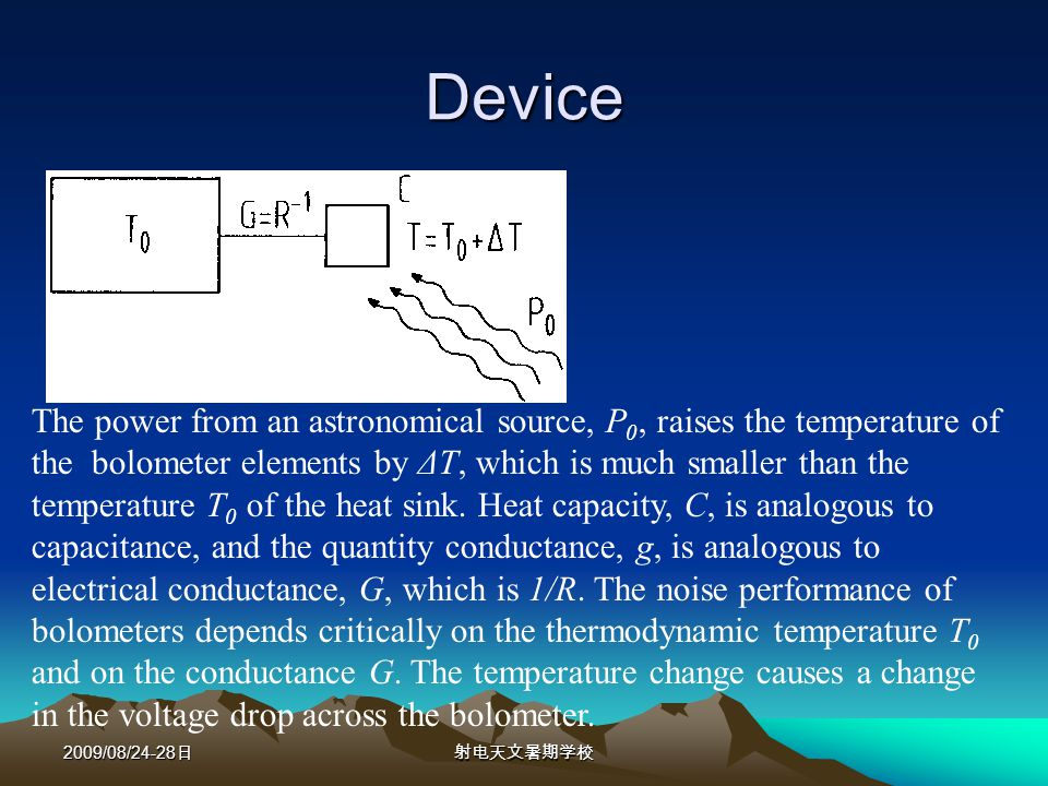 2009/08/24-28 Device The power from an astronomical source, P 0, raises the temperature of the bolometer elements by ΔT, which is much smaller than the temperature T 0 of the heat sink.