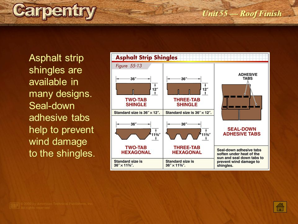 Unit 55 Roof Finish A 2 toplap and 4 sidelap are required for shingle underlayment.