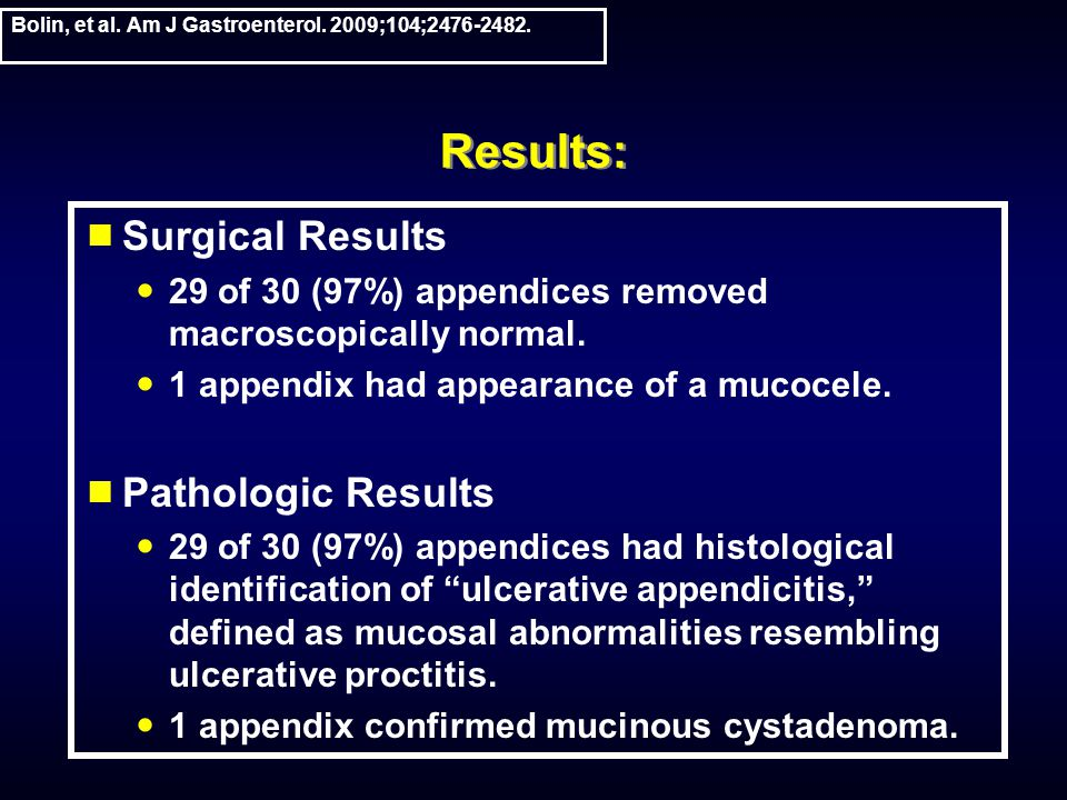 Results: Surgical Results 29 of 30 (97%) appendices removed macroscopically normal.