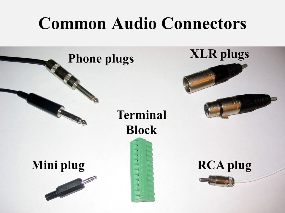 42 Common Audio Connectors Phone plugs Terminal Block XLR plugs RCA plug Mini plug