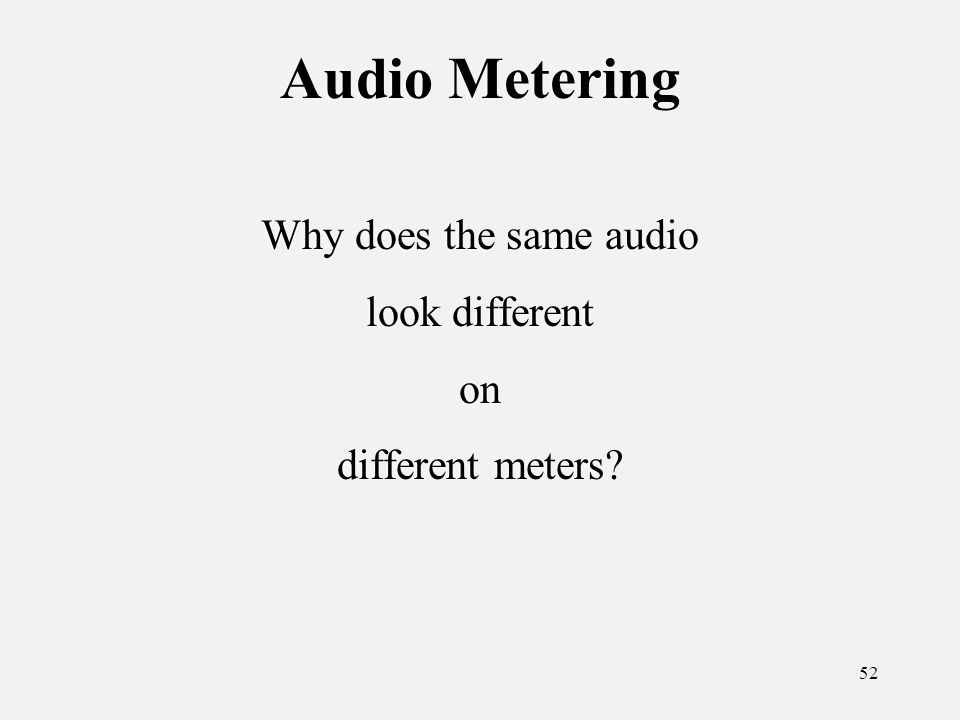 52 Audio Metering Why does the same audio look different on different meters.