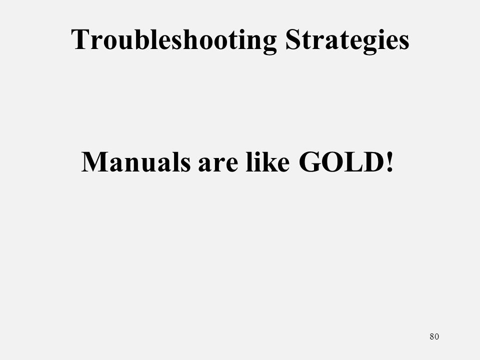 80 Troubleshooting Strategies Manuals are like GOLD!