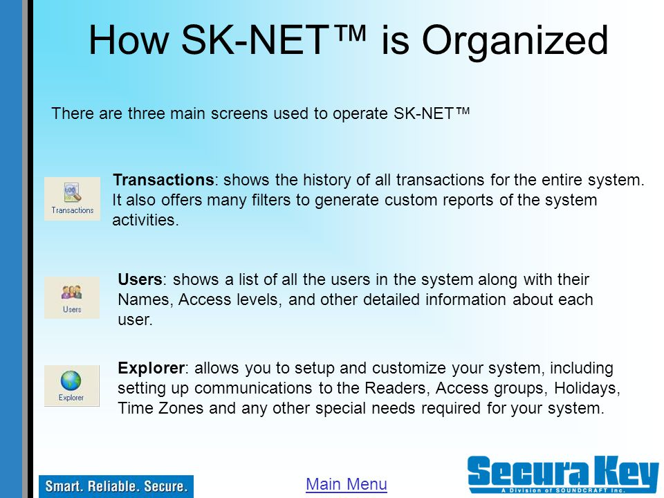 Getting Started To start SK-NET double click on the Icon First time startup Default User Name is: admin Default Password is: 12345 Main Menu