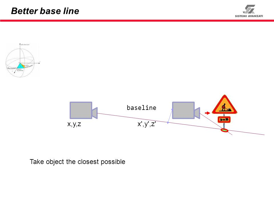 Better base line baseline x,y,zx',y',z' Take object the closest possible