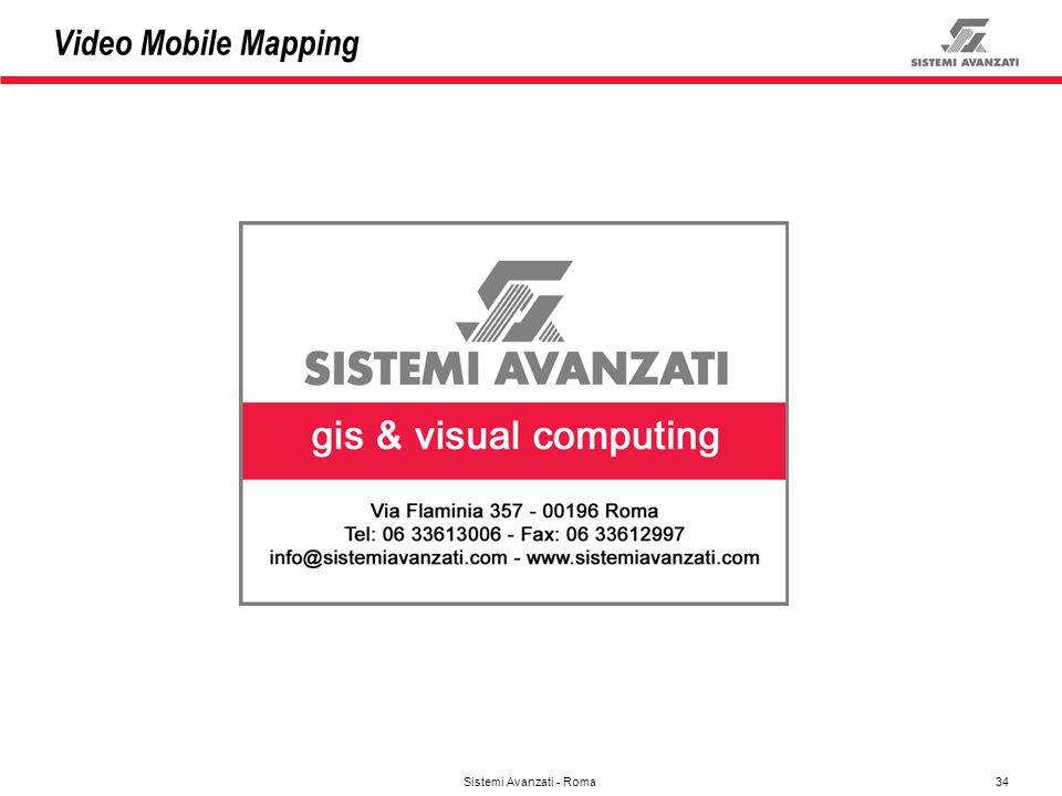 34 Sistemi Avanzati - Roma Video Mobile Mapping