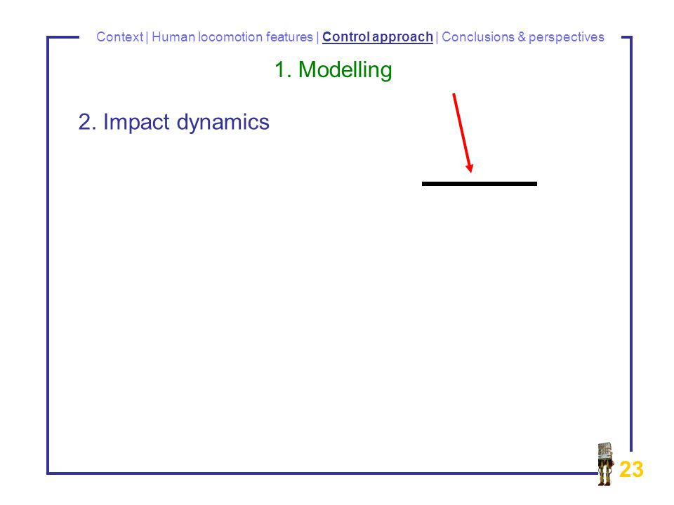23 Context | Human locomotion features | Control approach | Conclusions & perspectives 1.