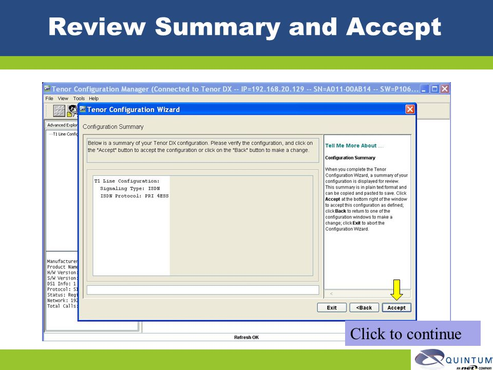 Review Summary and Accept Click to continue