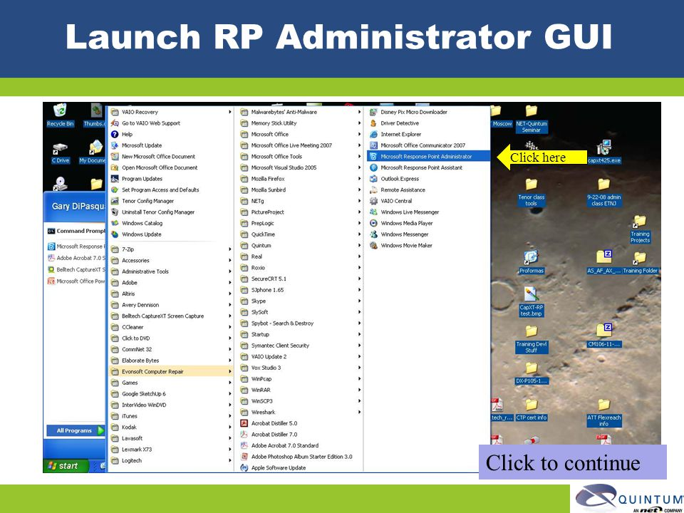 Launch RP Administrator GUI Click here Click to continue