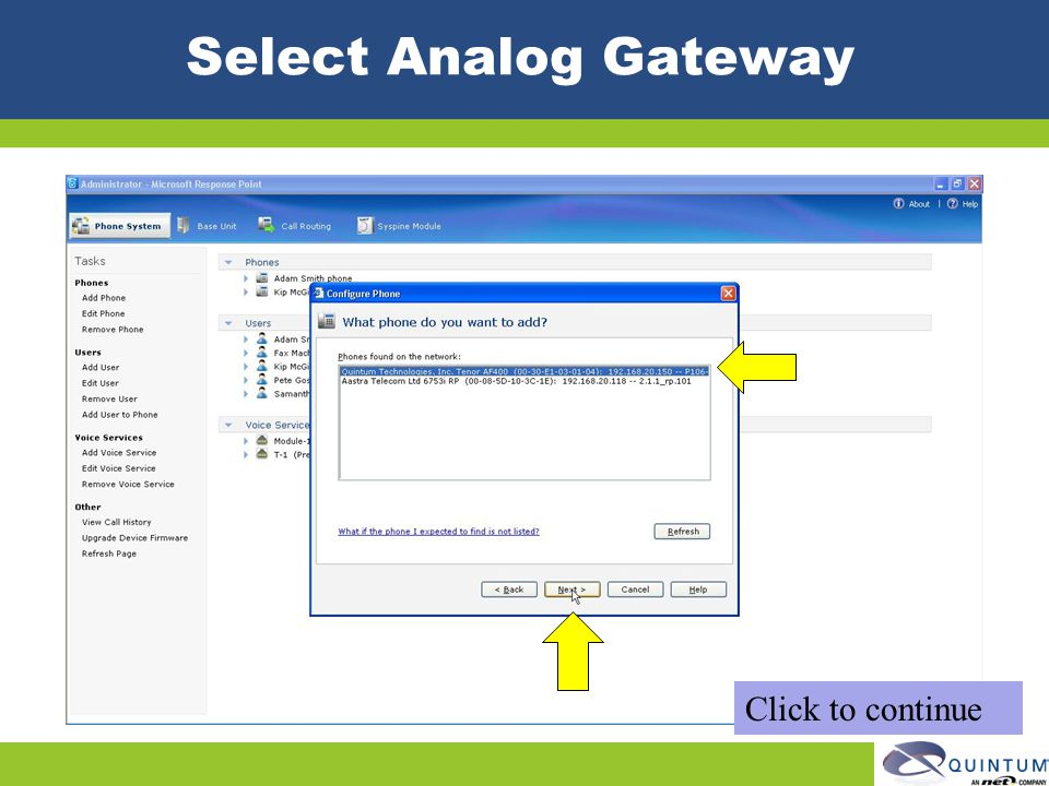 Select Analog Gateway Click to continue