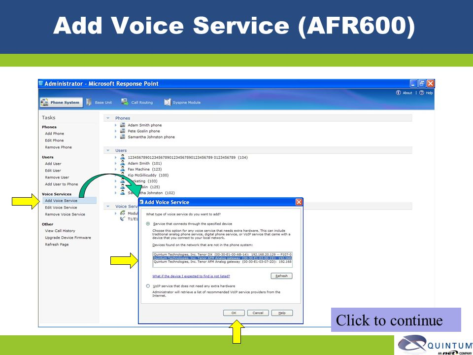 Add Voice Service (AFR600) Click to continue