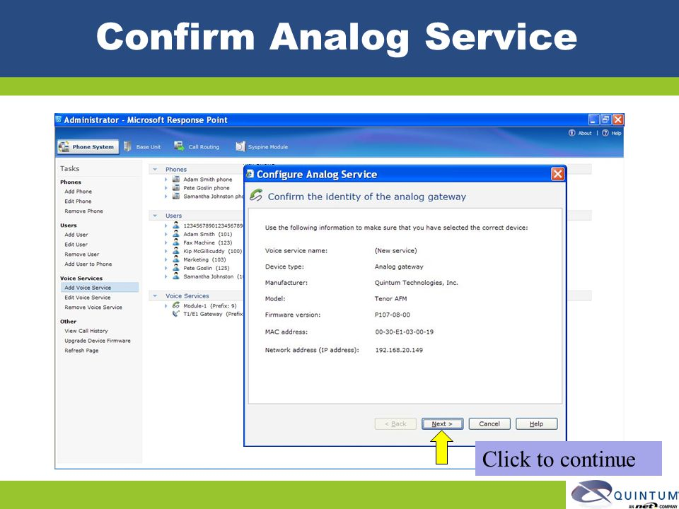 Confirm Analog Service Click to continue
