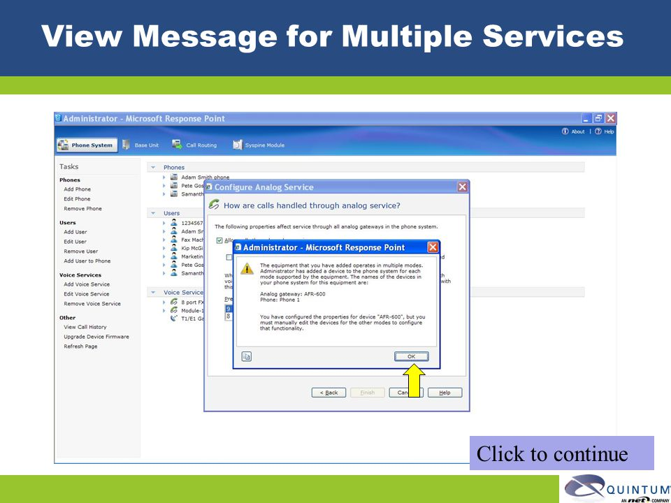 View Message for Multiple Services Click to continue