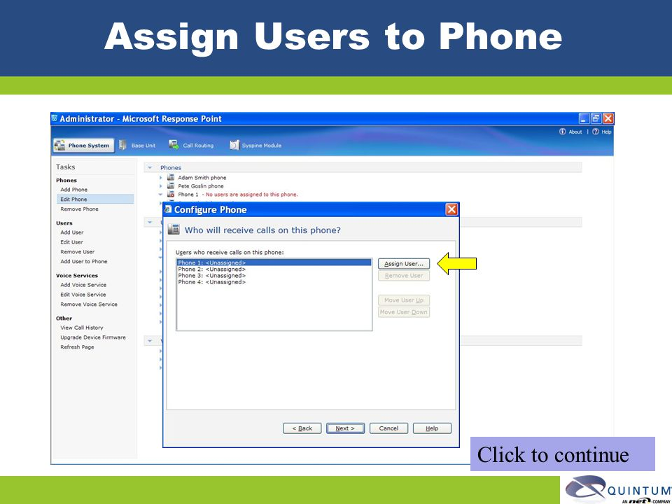 Assign Users to Phone Click to continue
