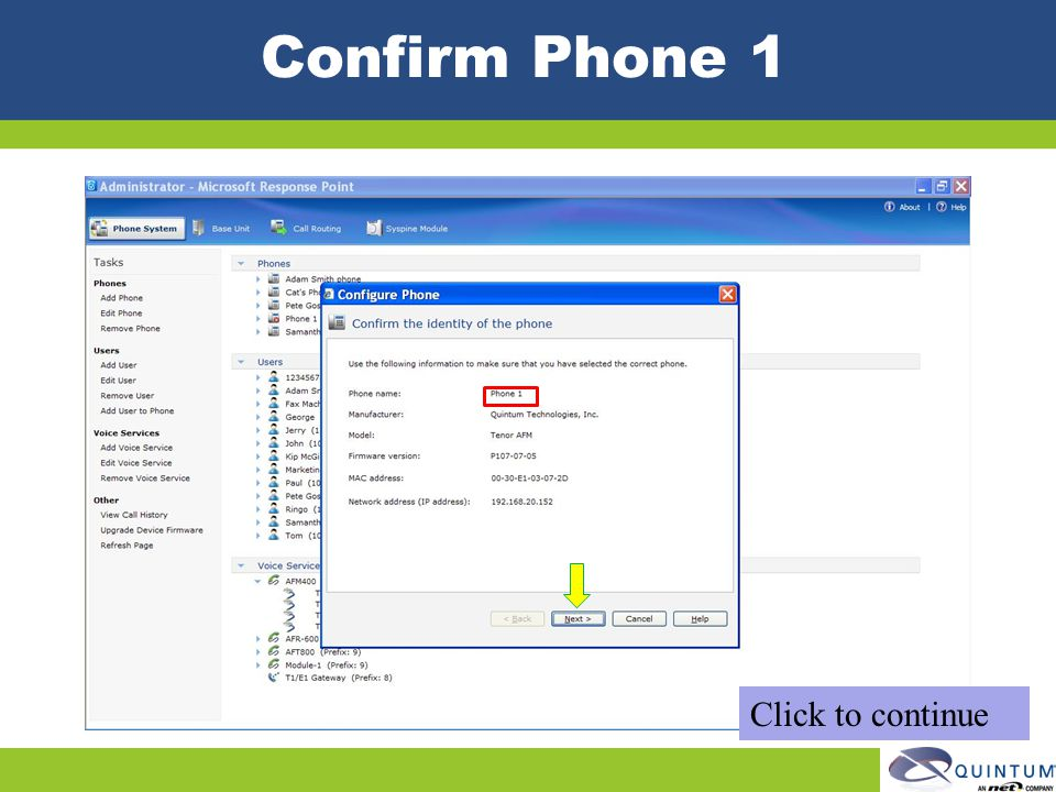 Confirm Phone 1 Click to continue
