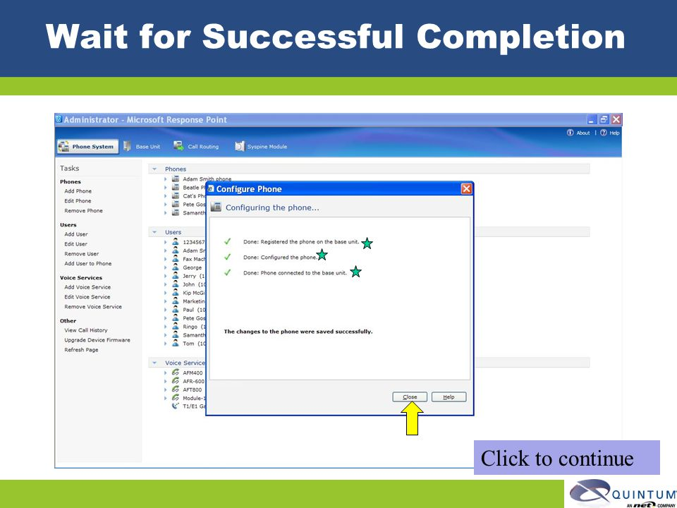 Wait for Successful Completion Click to continue